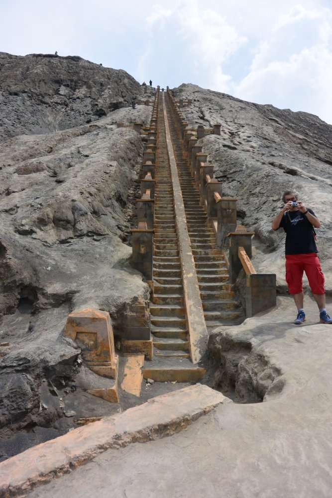 De trap naar de kraterrand van de bromo, onderdeel van het parcours